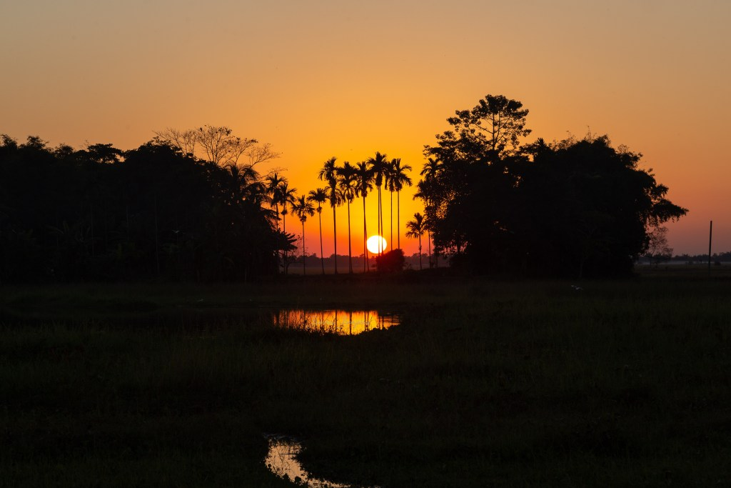 Besutiful sunset in Majuli