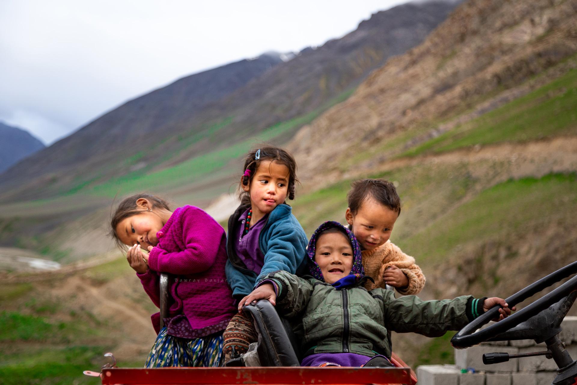 Children in villages of Spiti valley