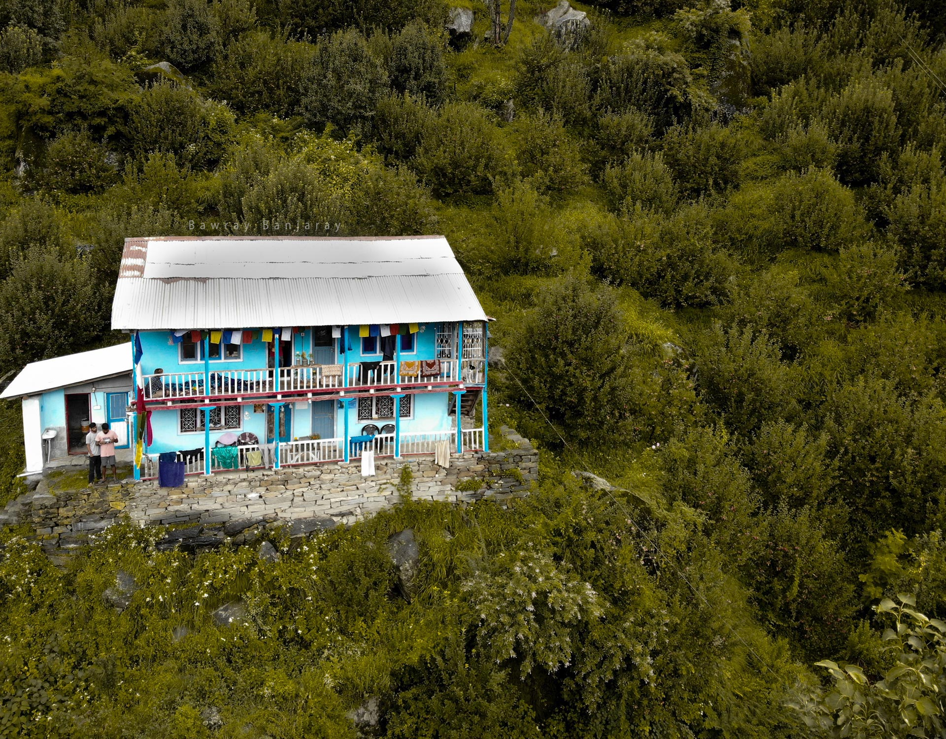Drone view of Homestay In Manali